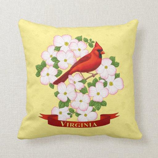 Cardinal Bird Throw Pillows : Virginia State Cardinal Bird and Dogwood Flower Throw Pillow Zazzle