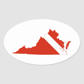 Virginia State Dive Flag Oval Sticker