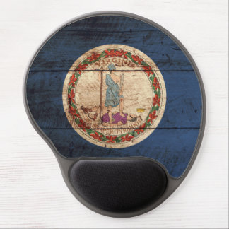 Virginia State Flag on Old Wood Grain Gel Mouse Pad