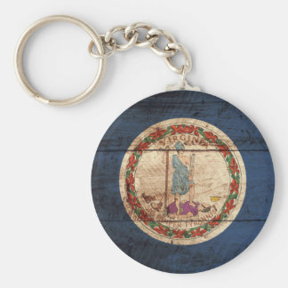 Virginia State Flag on Old Wood Grain Keychain