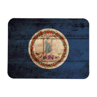 Virginia State Flag on Old Wood Grain Magnet