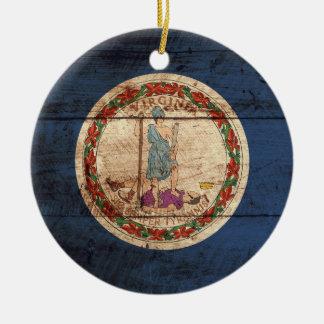 Virginia State Flag on Old Wood Grain Christmas Ornaments