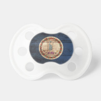 Virginia State Flag on Old Wood Grain Pacifier