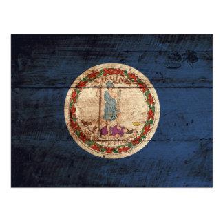 Virginia State Flag on Old Wood Grain Postcard