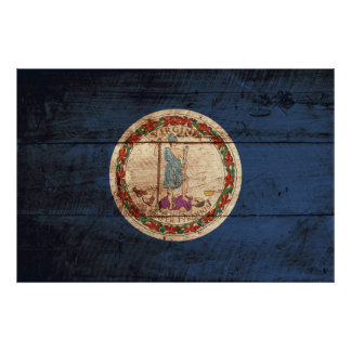 Virginia State Flag on Old Wood Grain Poster