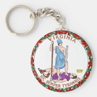 Virginia state flag seal united america country re keychain
