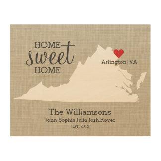 Virginia State Map Custom Family Name Established Wood Wall Decor