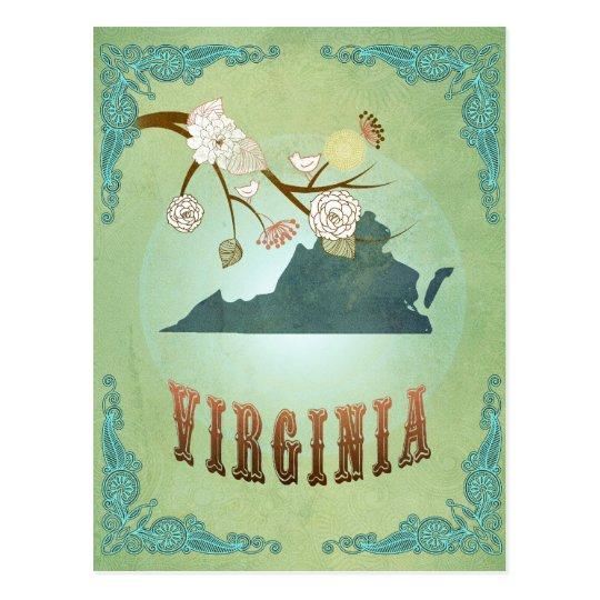Virginia State Map – Green Postcard