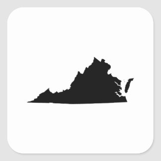 Virginia State Outline Square Sticker