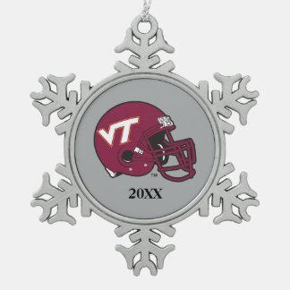Virginia Tech Helmet Snowflake Pewter Christmas Ornament