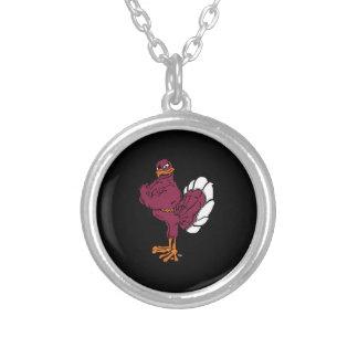 Virginia Tech Hokie Bird Round Pendant Necklace