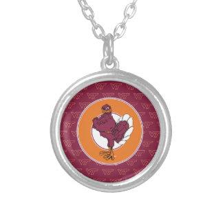 Virginia Tech Hokie with Orange Circle Round Pendant Necklace
