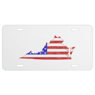 Virginia USA flag silhouette state map License Plate