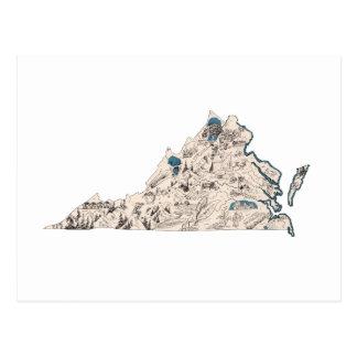 Virginia Vintage Picture Map Postcard