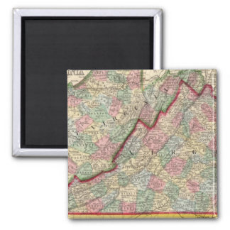 Virginia, W Virginia Map by Mitchell 2 Inch Square Magnet