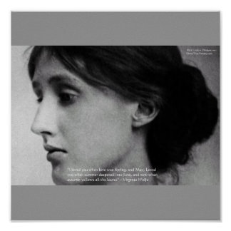 "Virginia Woolf ""Love Autumn"" Love Quote Posters"