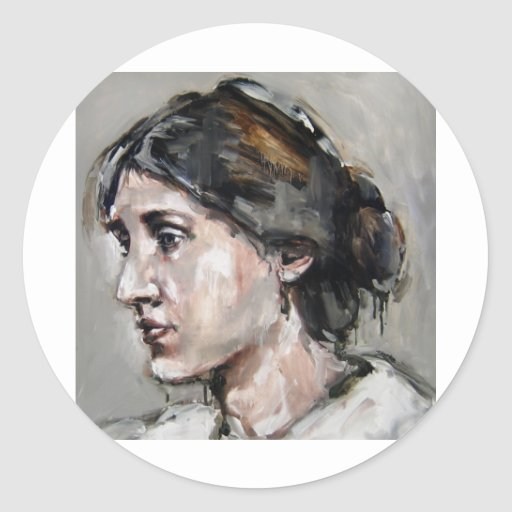 Virginia Woolf Round Stickers