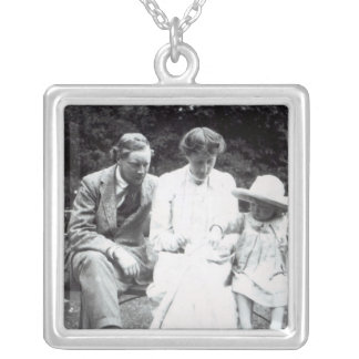 Virginia Woolf with Clive and Julian Bell, 1910 Square Pendant Necklace