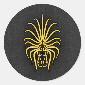 Virgo ambarino amarillo pegatina redonda