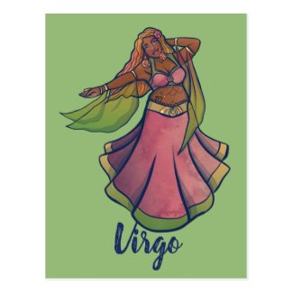 Virgo Belly Dancer Art Bellydance Goddess Postcard