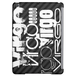 Virgo; Black & Dark Gray Stripes iPad Air Cases