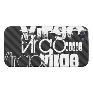 Virgo; Black & Dark Gray Stripes Cover For iPhone 5/5S