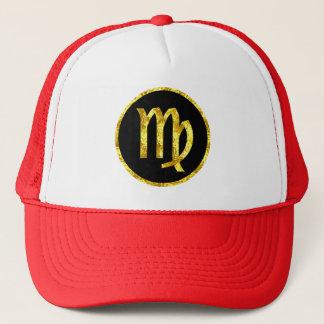 virgo-black-gold-crest-hat trucker hat
