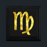 "Virgo Black Gold Horoscope Sign Keepsake Box<br><div class=""desc"">Elegant Virgo jewelry / keepsake box. Virgo gold zodiac symbol,  classic black tile on a beautiful lacquered ebony wood jewelry box to help keep your earthly treasure sparkling safe and pristine. Various sizes and wood finishes available; hammered gold design created for Virgo from Happy Wishing Well dot com.</div>"