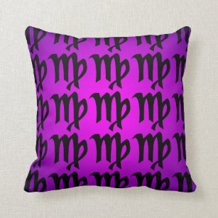 Virgo Black Magenta Purple Horoscope Sign Throw Pillow