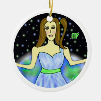 Virgo Chick Art Double-Sided Ceramic Round Christmas Ornament