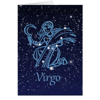 Virgo Constellation and Zodiac Sign with Stars Card