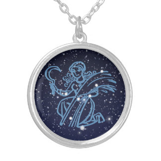 Virgo Constellation and Zodiac Sign with Stars Silver Plated Necklace