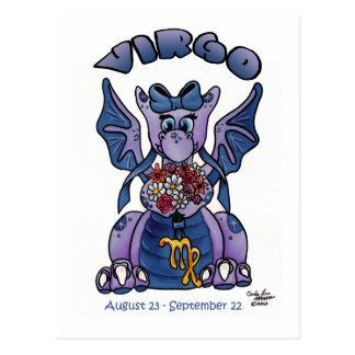 Virgo cute zodiac baby little wings dragon post cards