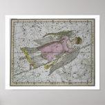 """Virgo, """"de un atlas celestial"""", pub. en 1822 (col poster"""