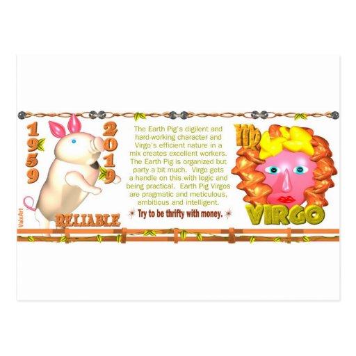 Virgo del cerdo de la tierra del zodiaco de ValxAr Tarjetas Postales