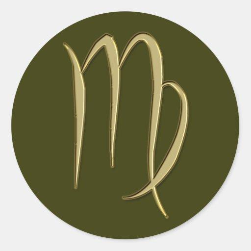 virgo del oro etiqueta redonda