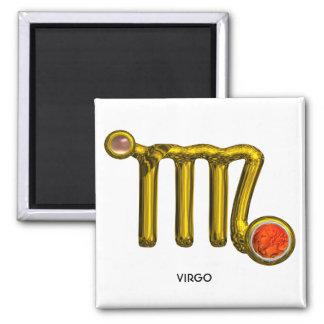 VIRGO / GOLD ORANGE AGATE ZODIAC SIGN JEWEL 2 INCH SQUARE MAGNET