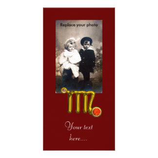 VIRGO / GOLD ORANGE AGATE ZODIAC SIGN JEWEL CARD