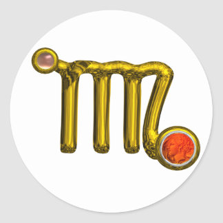 VIRGO / GOLD ORANGE AGATE ZODIAC SIGN JEWEL CLASSIC ROUND STICKER