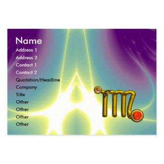 VIRGO / GOLD ORANGE AGATE ZODIAC SIGN JEWEL LARGE BUSINESS CARD