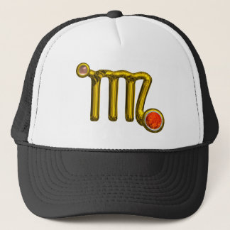 VIRGO / GOLD ORANGE AGATE ZODIAC SIGN JEWEL TRUCKER HAT
