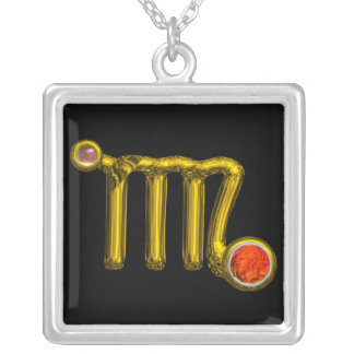 VIRGO/GOLD ZODIAC SIGN JEWEL ORANGE AGATE, Black Silver Plated Necklace