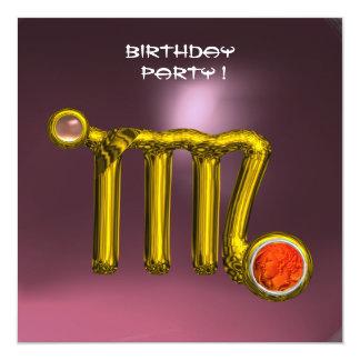 VIRGO/GOLD ZODIAC SIGN JEWEL PINK BIRTHDAY PARTY CARD