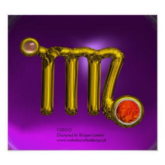 VIRGO/ GOLD ZODIAC SIGN JEWEL Purple Birthday