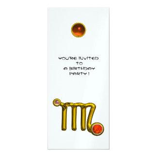 VIRGO /GOLD ZODIAC SIGN JEWEL WHITE BIRTHDAY PARTY 4X9.25 PAPER INVITATION CARD