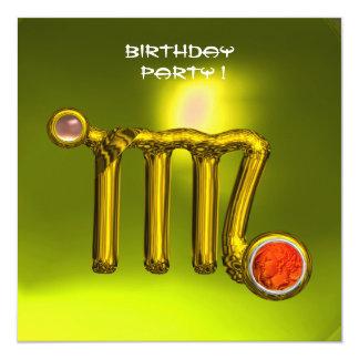 VIRGO GOLD ZODIAC SIGN JEWEL YELLOW BIRTHDAY PARTY CARD