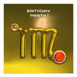 VIRGO/GOLD ZODIAC SIGN JEWEL YELLOW BIRTHDAY PARTY 5.25X5.25 SQUARE PAPER INVITATION CARD