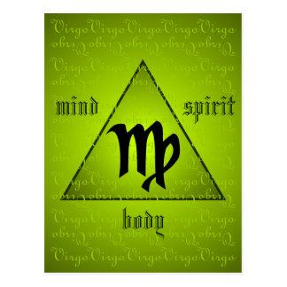 Virgo Holistic Triangle Mind Body Spirit Green Postcard