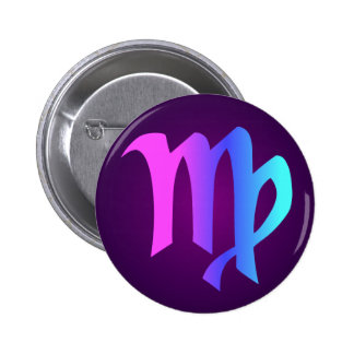 Virgo Horoscope Sign Pink Blue Aqua Purple 2 Inch Round Button