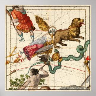 Virgo, Hydra, cráter, Bootes, Leo y Centaurus Póster